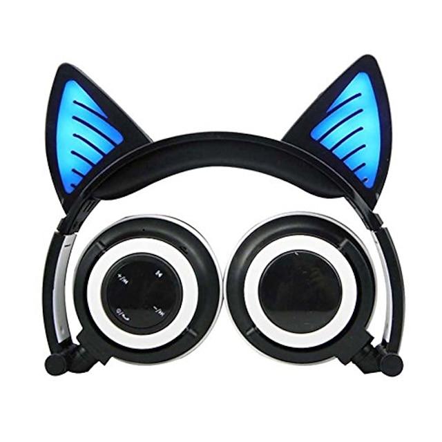 fones de ouvido bluetooth sem fio com LED dobrável na orelha de gato, luzes piscantes para jogos, carregador usb fone de ouvido para crianças compatíveis com telefone ios e laptop com Android