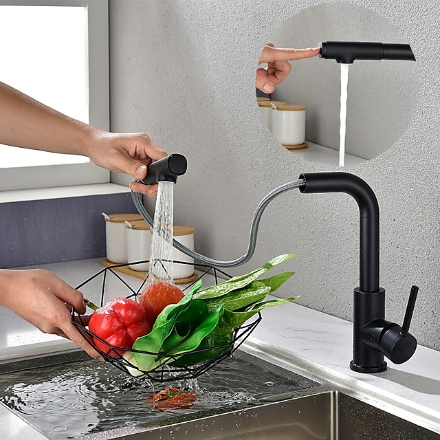 Kitchen Sink Faucet Black Single Handle One Hole Electroplated Pull-out Centerset Contemporary Kitchen Taps with Stream and Shower Modes Contain with Cold/Hot Water