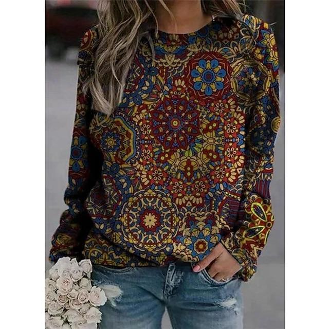 Dames Trui met capuchon Bloemen Grafisch Dagelijks Basic Informeel Hoodies Sweatshirts Paars Rood Geel / Micro-elastisch
