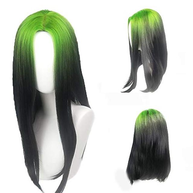 peruca eilish rădăcini verzi și peruca cosplay neagră billie cosplay accesorii costum machiaj (peruca billie rădăcini verzi și negre)