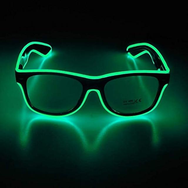 lunettes à LED lunettes de néon réglables, cadeaux de fête, lunettes de soleil à LED lumineuses (monture noire + lentilles claires)