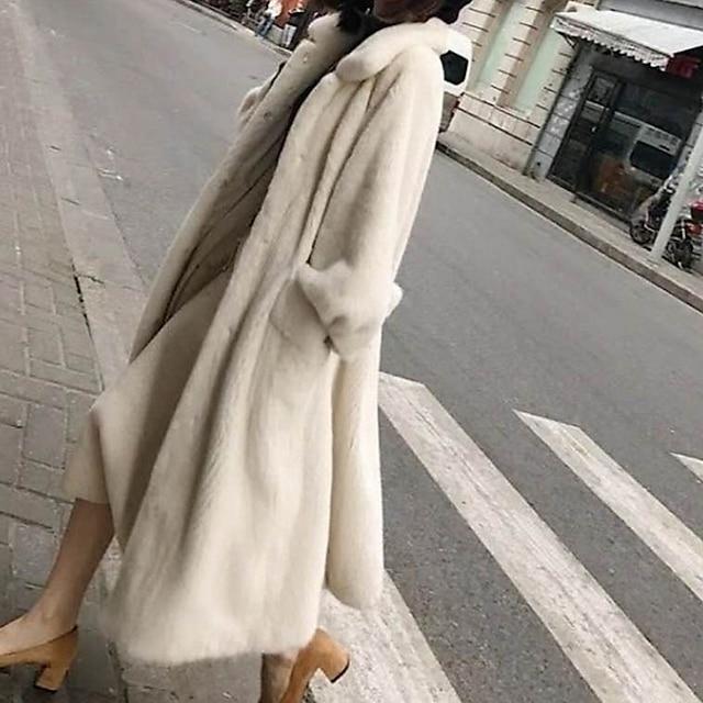 여성용 가짜 모피 코트 데이트 가을 겨울 긴 코트 루즈핏 자켓 긴 소매 솔리드 화이트 블랙