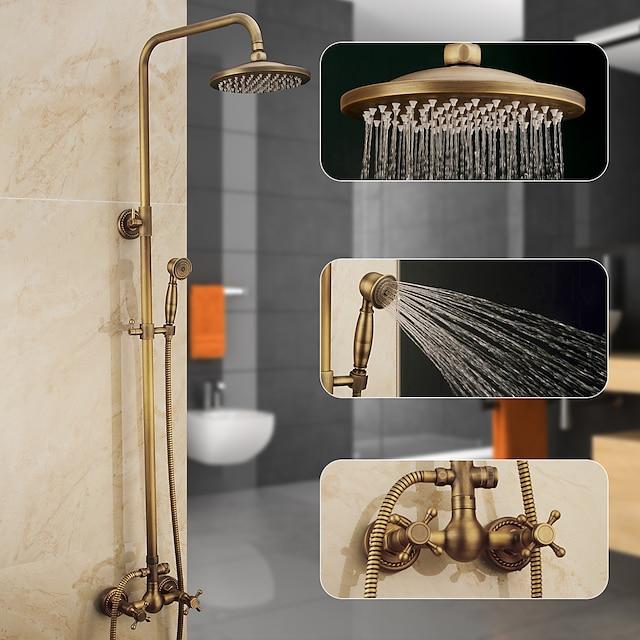 シャワーシステムセット、高さ調節可能なアンティーク真鍮ハンドシャワーと蛇口本体とハンドル壁の設置引き出し滝にはレインシャワー、ボディスプレー、排水管、温水/冷水が含まれています
