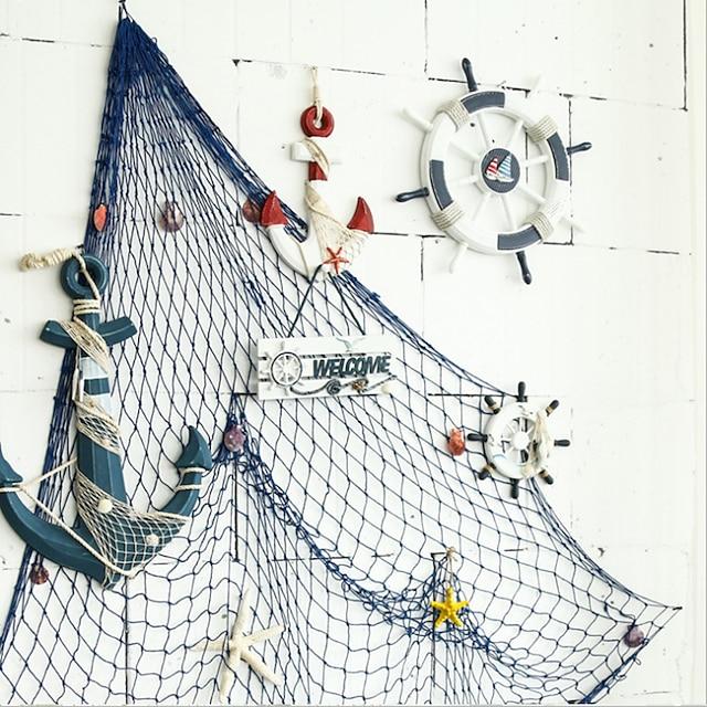 mediteranska ukrasna ribarska mreža gusta konopljina užad pozadina zidna dekoracija viseća ribarska mreža