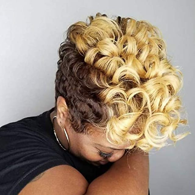 peruci sintetice scurte și cretate pentru femei negre peruci colorate pentru păr creț pentru femei afro-americane 6 stiluri disponibile (nas9632)