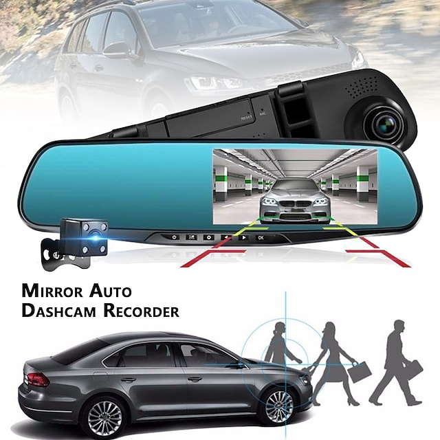 1080p HD / Kaksoislinssi Auto DVR 120 astetta Laajakulma 4.3 inch TFT Dash Cam kanssa GPS / G-Sensor / Liikkeentunnistus Ei Automaattinen tallennin