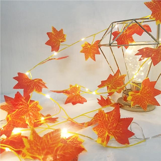 1x 2m 20leds lumières feuilles d'érable guirlande LED guirlande lumineuse guirlande de fées pour Noël Nouvel An décoration de fête automne chaîne lumière bricolage décor éclairage aa batterie (livré