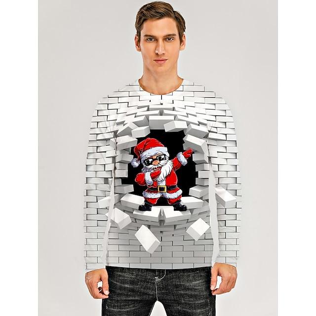 Voor heren T-shirt 3D-afdrukken Grafisch 3D Opdruk Lange mouw Kerstmis Tops Wit