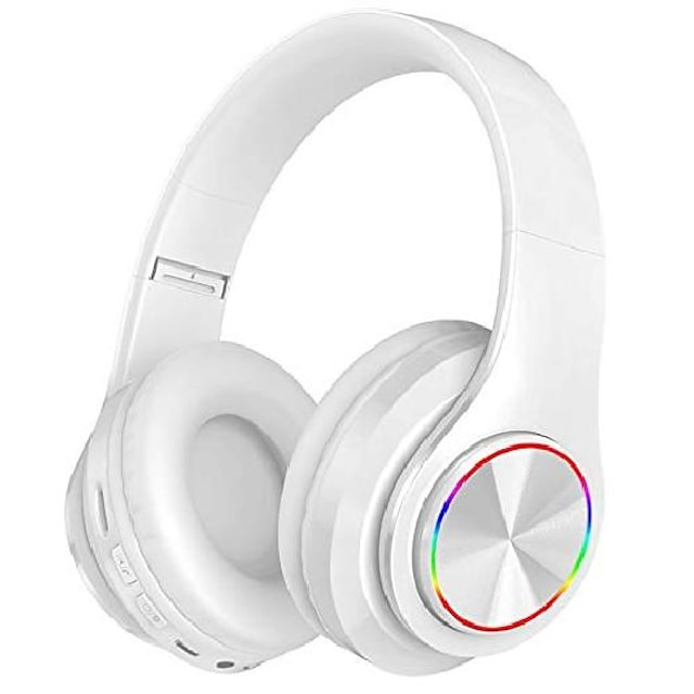 Bluetooth Headphones Over Ear with Deep Bass B39 LED Light Up Wireless Foldable Hi-Fi Stereo Headphones Bluetooth 5.0 Built in Microphone Wired and Wireless Headset for Smart Phone/TV/PC/iPad