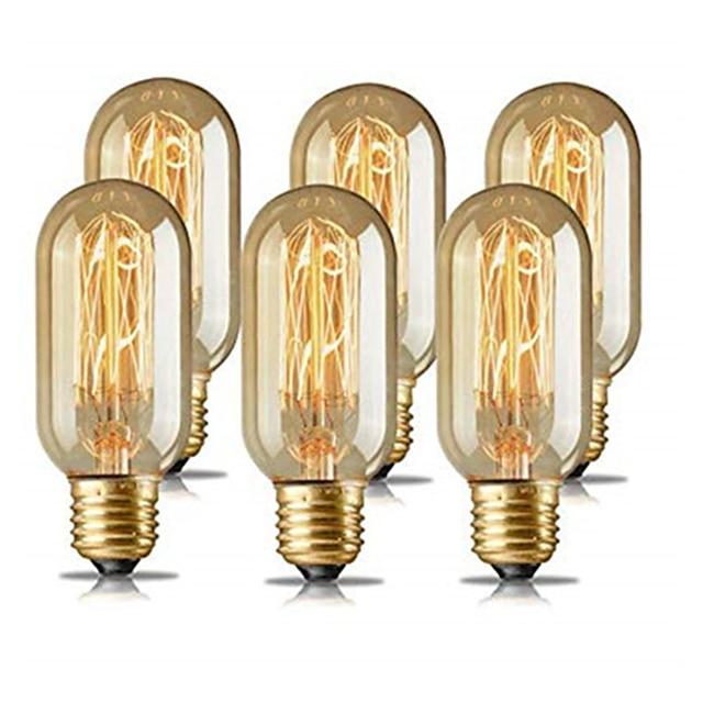 6stk 4stk 40W E26 E27 T45 Varm gul 1400-2800 K Retro dimbar dekorativ glødelampe Vintage Edison lyspære 220-240 V