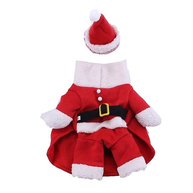 Câine Costume Haine pentru catelus Desene Animate Cosplay Crăciun Iarnă Îmbrăcăminte Câini Haine pentru catelus Ținute pentru câini Rosu Costume pentru fată și câine băiat Bumbac XS S M L XL