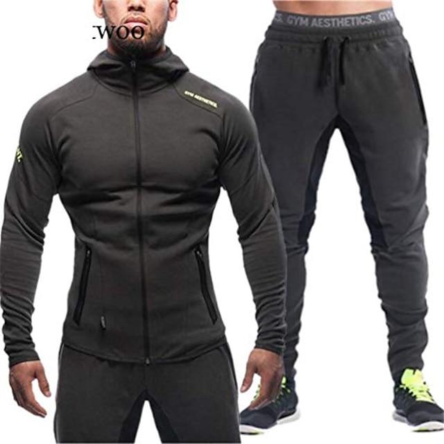 heren sportkleding running set joggingpakken mannelijke trainingspak jas broek gym traning fitness 2 stuks grijsachtig rood xxl