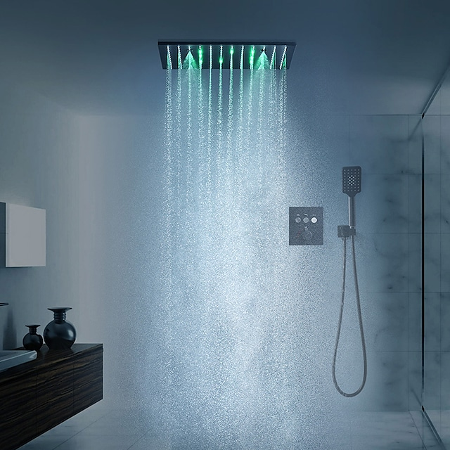 16 Inch Black Shower Faucets Sets Complete with Spray Rainfall Shower Head Ceiling Mounted LED Shower Head System(Contain Shower Faucet Rough-in Valve Body and Trim)