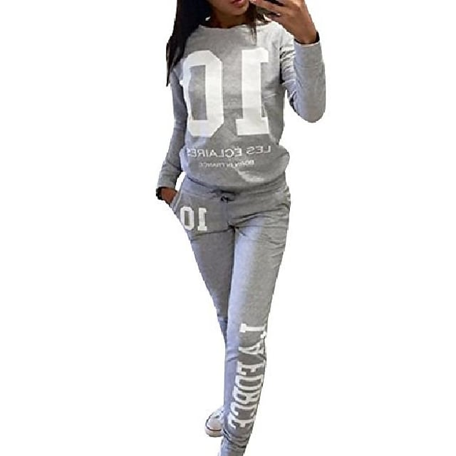 women's casual sport pullover tracksuit sweatshirt sweatpant set grey s