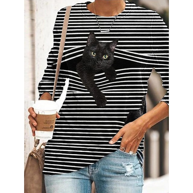 Tunique T-shirt Femme Quotidien Rayé Chat Dessin Animé 3D Manches Longues Imprimé Col Rond Hauts Standard Haut de base basique Noir Bleu Jaune