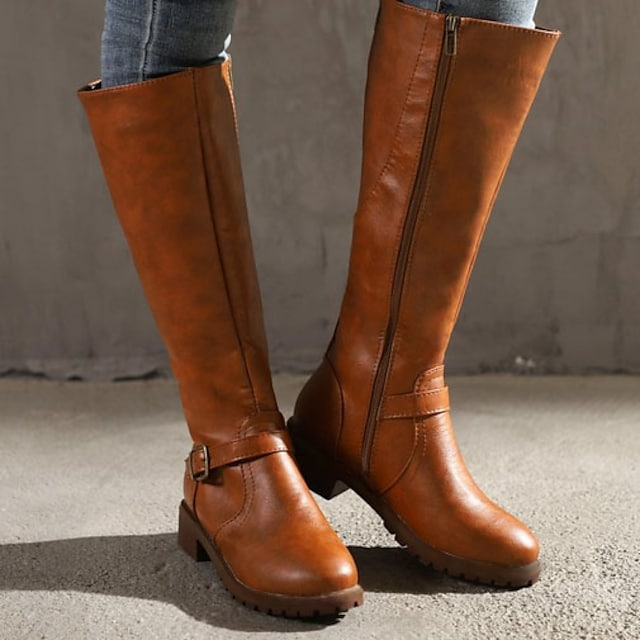 Women's Boots Riding Boots Chunky Heel Round Toe Knee High Boots Classic Vintage Daily Leather Buckle Solid Colored Winter Black Yellow Brown