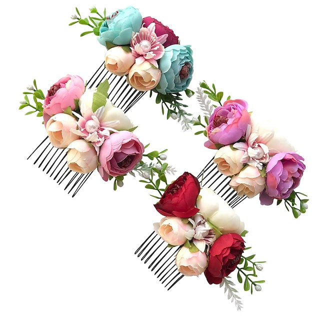 1pcs Kids Girls' Sweet Floral Floral Style Hair Accessories Purple / Red / Blushing Pink