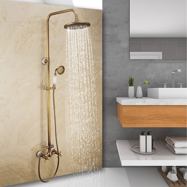 Antique Brass Shower System, Vintage Style Mount Outside Waterfall Pullout Included Rainfall Shower and Hot/Cold Switch