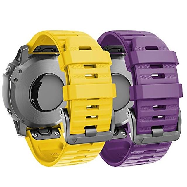 compatibel met fenix 6x-banden 2-pack 26 mm siliconen horlogebanden vervanging voor fenix 6x pro / fenix 5x / fenix 5x plus / fenix 3 smartwatches, paars en geel
