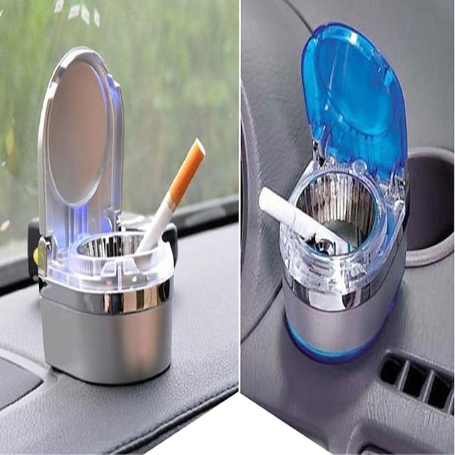อุปกรณ์ตกแต่งภายในรถยนต์อเนกประสงค์อุปกรณ์เสริมที่เขี่ยบุหรี่ในรถยนต์ที่เขี่ยบุหรี่ขนาดเล็กพร้อมไฟ LED