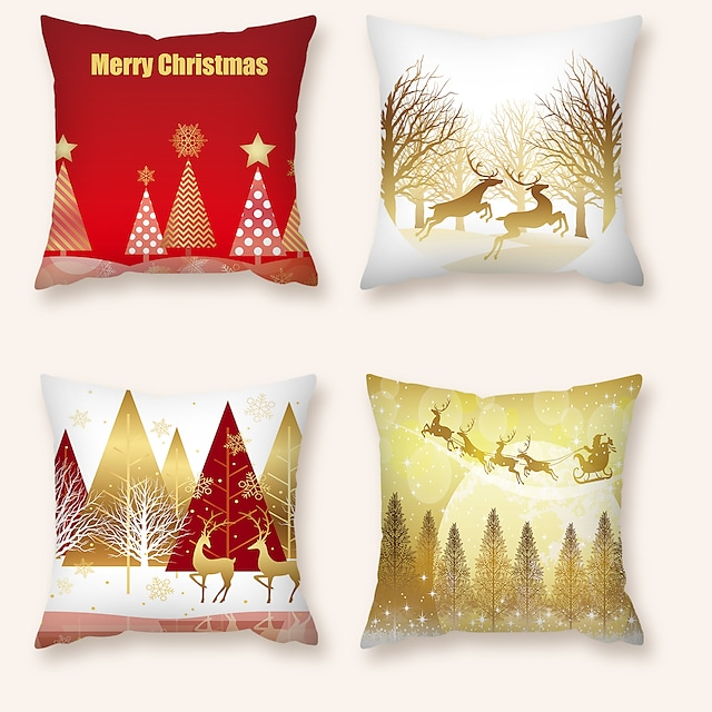 kussenhoes 4 stuks kerstfeest decoratie kerstcadeau korte pluche zachte decoratieve vierkante sierkussenhoes kussenhoes kussensloop voor sofa slaapkamer 45 x 45 cm (18 x 18) superieure kwaliteit