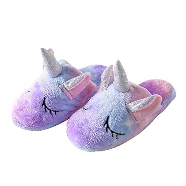 pantoufles de licorne pantoufles d'intérieur antidérapantes pour filles et garçons (12,5-13,5 petit enfant, violet)
