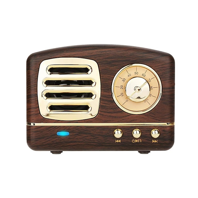 Dosmix Wireless Stereo Retro Speakers Portable Bluetooth Vintage Speakers with Powerful Sound Answering Calls Alexa Support TF Card AUX for Kitchen Bedrooms Party Outdoor Android iOS Wooden