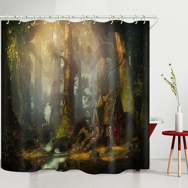 forest creek lodge digitaal printen douchegordijn douchegordijnen haken modern polyester nieuw design