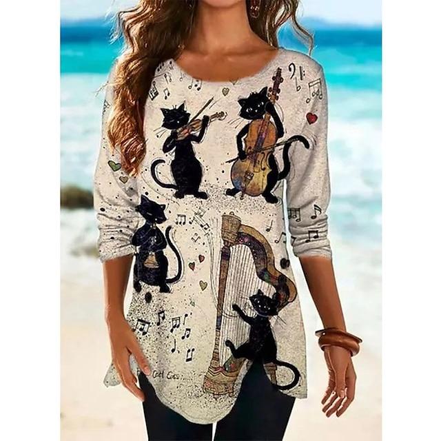 Dames T-shirt jurk Tuniek T-shirt Kat Grafisch dier Lange mouw Opdruk Ronde hals Tops Ruimvallend Katoen Basic Street chic Basis-top Wit Khaki Grijs