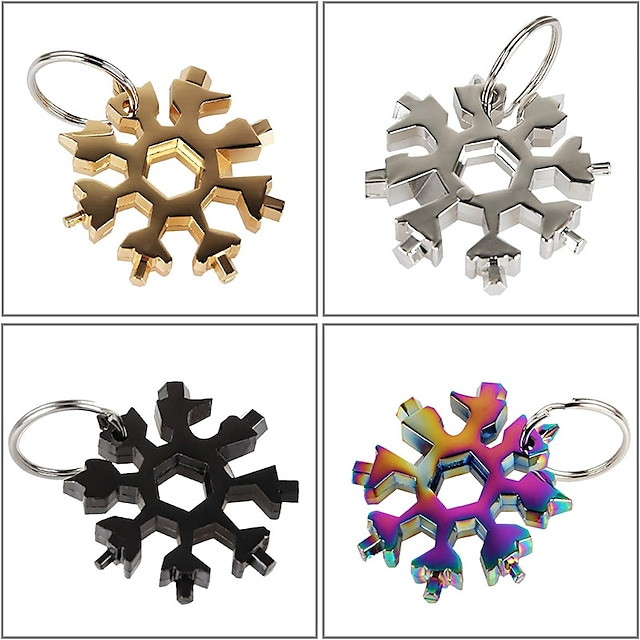 18-in-1 Stainless Steel Snowflake Multi-tool Keychain Hand Outdoor Tools Portable Camping Adventure Daily Tool