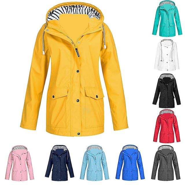 Women's Hoodie Jacket Rain Jacket Friesennerz Outdoor Waterproof Windproof Solid Rain Lightweight Plus Size Breathable Quick Dry Coat Top  Camping / Hiking Hunting Fishing Light Blue Pink ArmyGreen