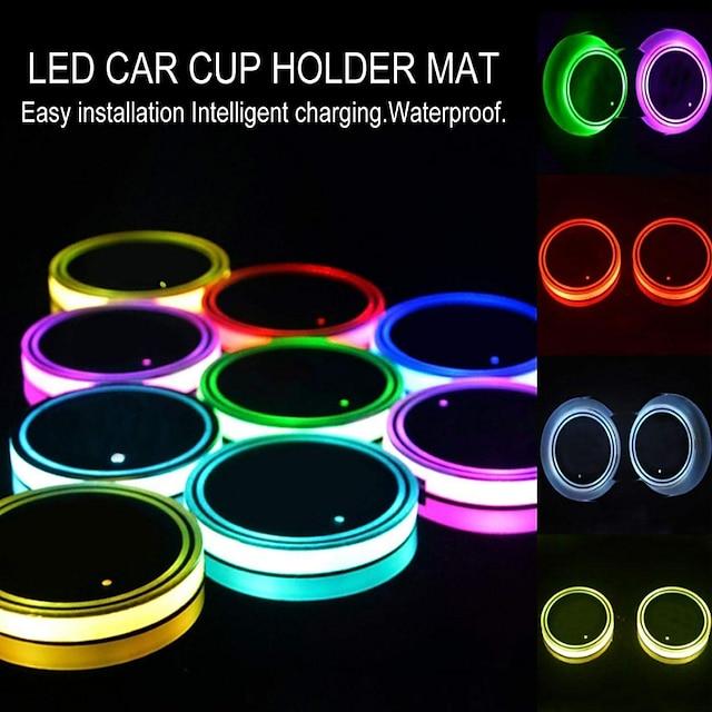nieuwe auto led licht bekerhouder auto-interieur usb kleurrijke verlichting lamp bekerhouder antislipmat auto producten