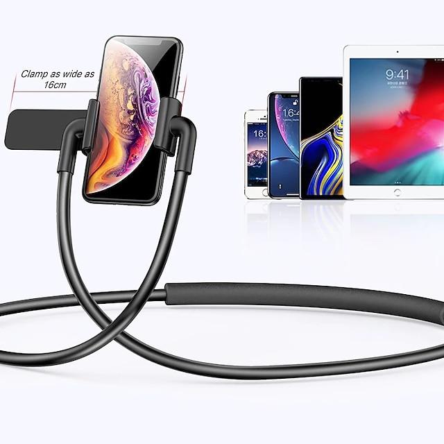 Accroche Support Téléphone Lit Téléphone Portable Support de cou Ajustable Alliage d'aluminium ABS Accessoire de Téléphone iPhone 12 11 Pro Xs Xs Max Xr X 8 Samsung Glaxy S21 S20 Note20