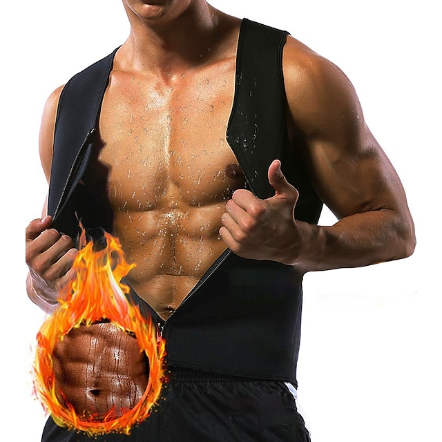 Sweat Vest Waist Trainer Vest Neoprene Tank Top Sports Neoprene Yoga Gym Workout Exercise & Fitness Zipper Weight Loss Tummy Fat Burner For Men's Abdomen