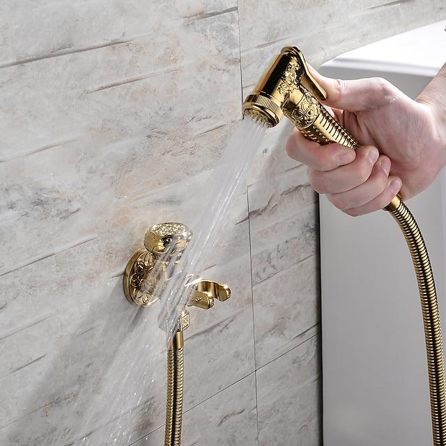 bidet vandhane håndholdt bidet sprøjte antik gylden luksus mellemøstlig shattaf sæt
