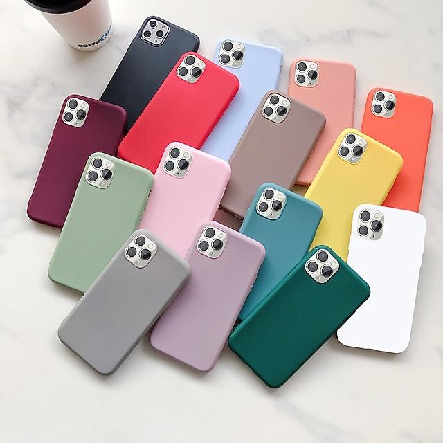funda de silicona para teléfono para apple iphone 13 12 pro max / iphone 13 12 mini / iphone 11 pro max contraportada de color sólido a prueba de golpes para iphone xs max / xr / x / se2020 / 7 8 plus