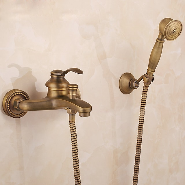 Mount Outside Shower Faucet Set,AntiqueBrass/Brass/YellowDual-Head Pullout Vintage Style,BrassShowerFaucetwithRain Shower/Handshower/Bodysprays/Drain with Hot and Cold Water