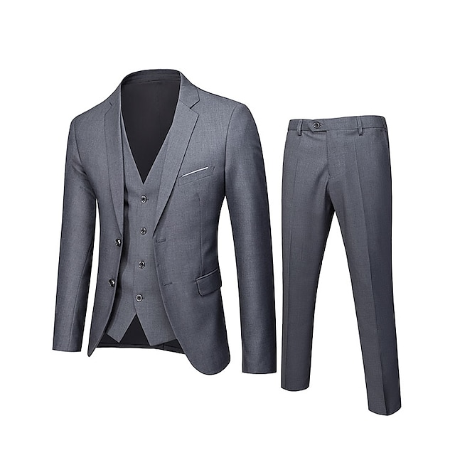 Men's Wedding Suits Notch Standard Fit Single Breasted Two-buttons Solid Colored Polyester
