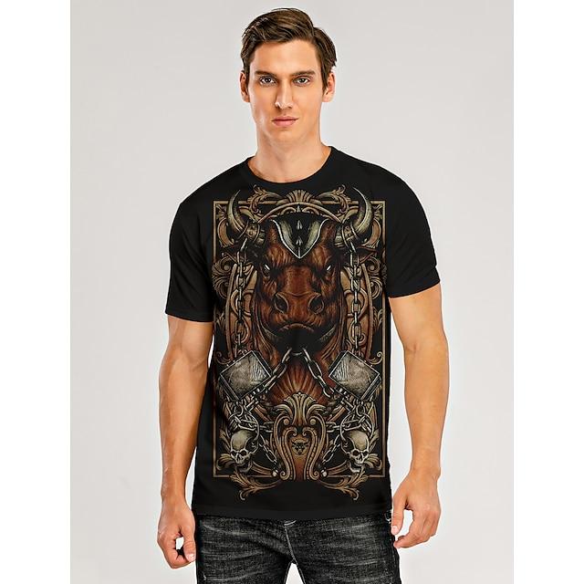 Men's T shirt 3D Print Graphic 3D Animal Print Short Sleeve Daily Tops Black