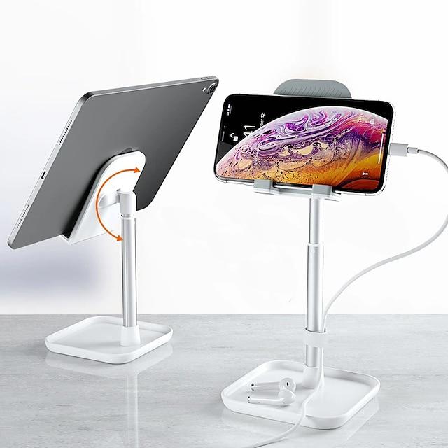 Mobilstativ Seng Skrivebord Mobiltelefon Justerbart Stativ Telefonbordstativ Justerbar Aluminiumslegering Tilbehør til mobiltelefon iPhone 12 11 Pro Xs Xs Max Xr X 8 Samsung Glaxy S21 S20 Note20