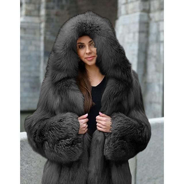 Women's Faux Fur Coat Going out Fall  Winter Regular Coat Loose Streetwear Jacket Long Sleeve Solid Colored Fur Trim Patchwork Gray Khaki Black