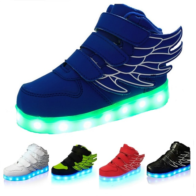 Boys' Sneakers LED LED Shoes USB Charging PU Wings Shoes Little Kids(4-7ys) Big Kids(7years +) Casual Outdoor Magic Tape LED Luminous White Black Red Fall Spring