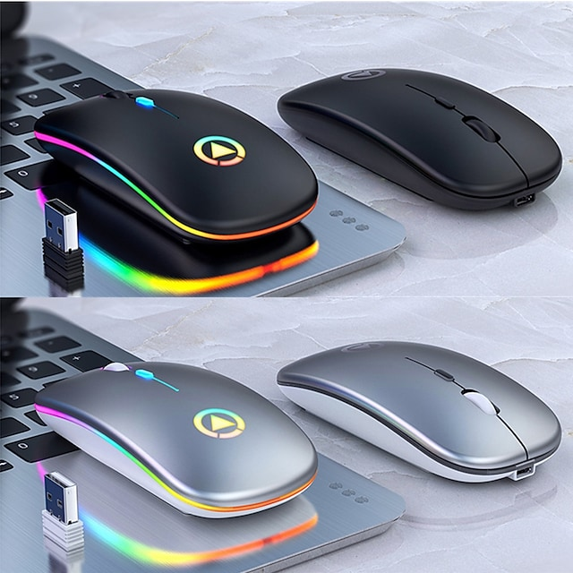 Wireless 2.4G Silent Mouse Rechargeable Mouse Multi-colors Backlit Programmable Keys Slim Wireless mouse for iPadMacBook2020 PC