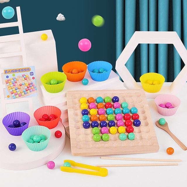 Board Game Rainbow Ball Elimination Game Wooden STEAM Toy family game Parent-Child Interaction Home Entertainment Kid's Adults Boys and Girls Toys Gifts