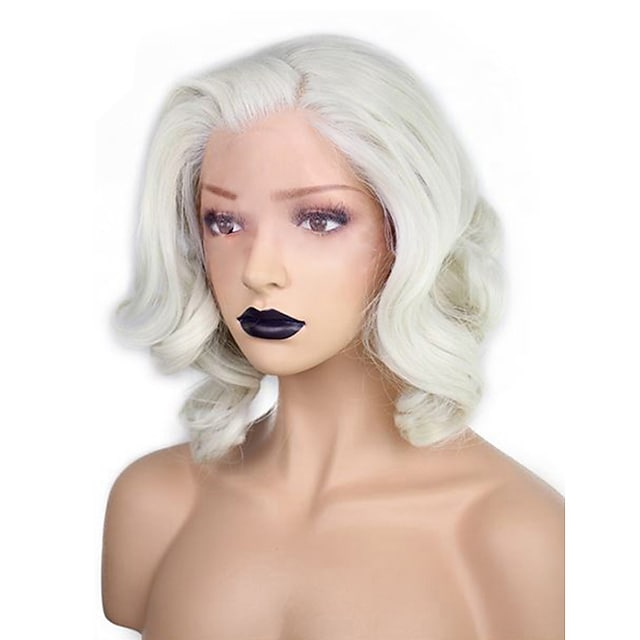 Synthetic Wig Wavy Water Wave Kardashian Water Wave Wavy Bob Pixie Cut Wig Blonde White Short Medium Length White Synthetic Hair Women's Natural Hairline Side Part Blonde White
