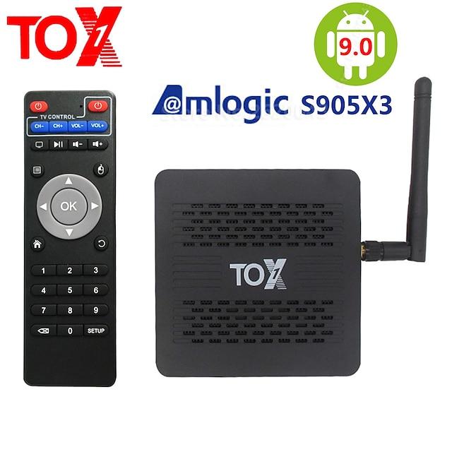 2020 tox1 amlogic s905x3 smart android 9.0 tv-boks 4gb ram 32gb rom 2.4g 5g wifi bluetooth 1000m lan usb 3.0 4k hd set top box
