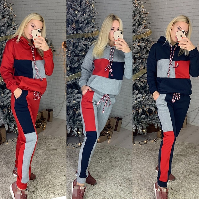 Women's 2 Piece Tracksuit Sweatsuit Street Athleisure 2pcs Winter Long Sleeve Thermal Warm Breathable Soft Fitness Gym Workout Running Jogging Training Sportswear Stripes Normal Hoodie Red Grey Cyan
