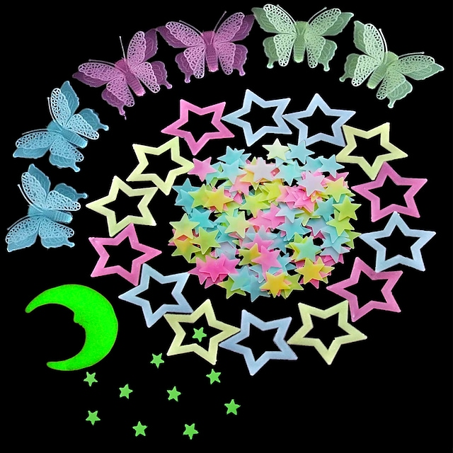 100 Pcs Colorful Glow in The Dark Luminous Stars Fluorescent Noctilucent Plastic Wall Stickers Murals Decals for Home Art Decor Ceiling Wall Decorate Kids Babys Bedroom Room Decorations
