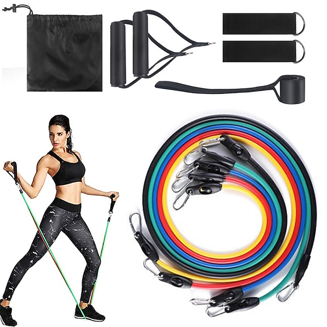 Resistance Band Set Stretch Out Strap Suspension Trainer Basic Kit 11 pcs Resistance Bands 5 Stackable Exercise Bands Door Anchor Sports Latex Home Workout Gym Workout Exercise & Fitness Portable