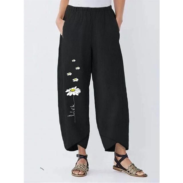 Dame Basale Gade Komfort Daglig I-byen-tøj Bukser kinesisk Bukser Mønstret Blomst Fuld længde Lomme Trykt mønster Sort Grøn